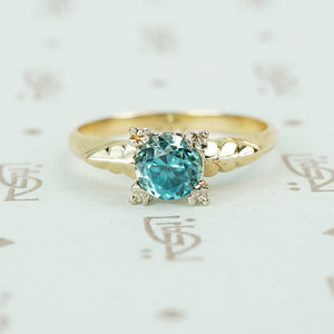 1/2 carat natural blue zircon in 2 tone 14k gold setting vintage engagement ring