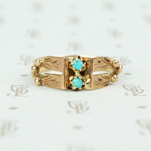 rose gold turquoise ring vintage with 2 turquoise rounds and engraved panels