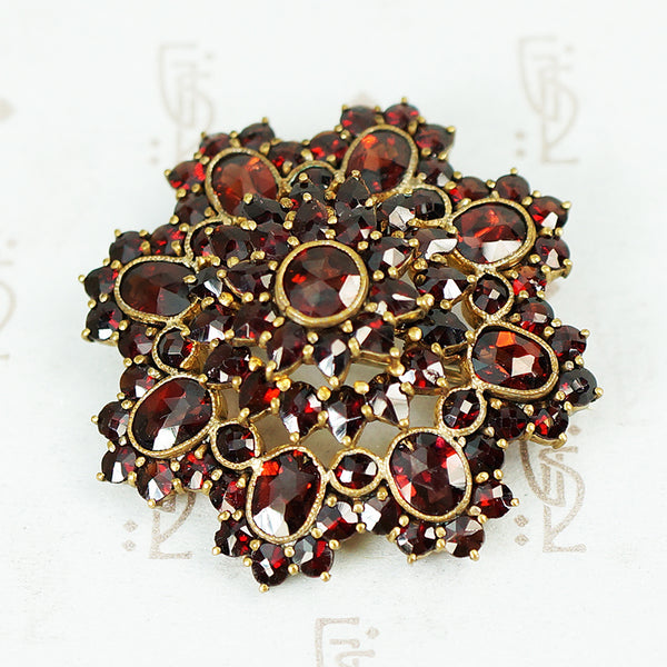 rose cut garnet brooch circa 1930's