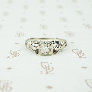 .39 point chunky old mine cut diamond white gold engagement ring