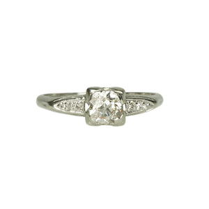 1930's Platinum Old Euro Diamond Engagement Ring
