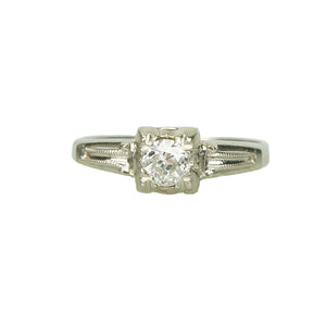 Pretty Vintage 1930's Diamond Ring - Gem Set Love