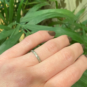 18k White Gold Floral Wedding Band