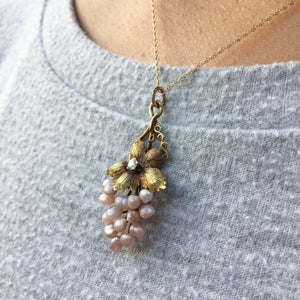Antique Grape Pendant Pink Pearls Diamond and Gold