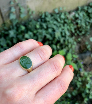 Rich Green Jade Intaglio of the God Mercury set in a Ring