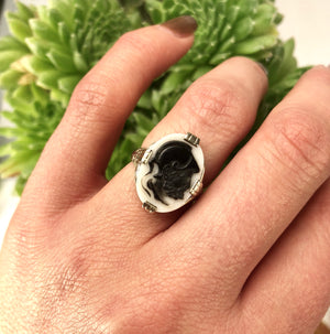 Cameo Ring set in 14k White Gold Filigree