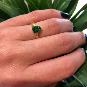 The 22k Gold Tsavorite Garnet Solitaire Pear by GSL