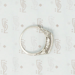 3 diamond filigree white gold ring floral side view