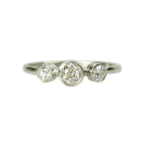 Orbit Three Stone Platinum Diamond Ring - Gem Set Love