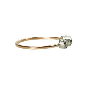 Orbit Three Diamond Platinum and Rose Gold Ring - Gem Set Love