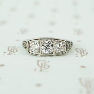 3 oec diamond platinum filigree band