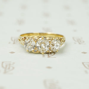 3 Stone Old European Cushion Cut Diamond Ring