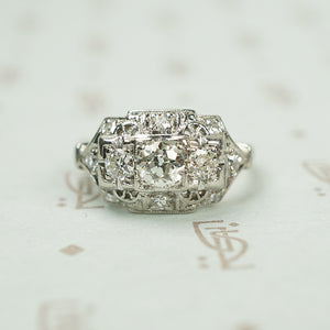 Sparkling 1930's Platinum and Diamond Engagement Ring