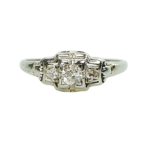 1930's White Gold Diamond set Engagement Ring