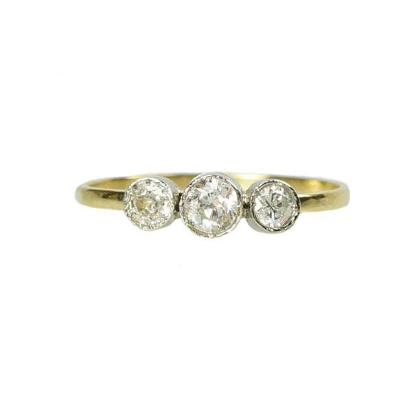 Orbit Platinum and 18k Yellow Gold Three Stone Ring - Gem Set Love