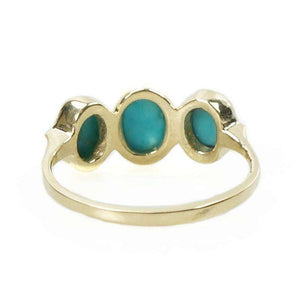 Three Stone Persian Turquoise Ring in Recycled Gold