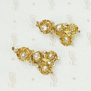 Spectacular Antique 18k Yellow Gold and Rose Cut Diamond Earrings