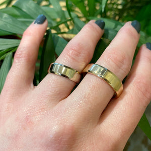 Beveled Edge Wedding Band made with Recycled Gold