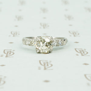 1.03 omc diamond platinum 1940's engagement ring
