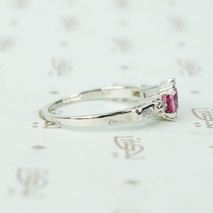 platinum diamond engagement ring with 1 carat pink sapphire circa 1940