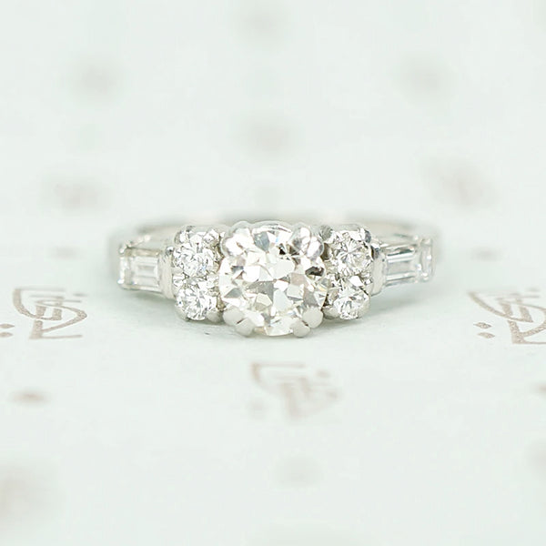 Vintage Diamond Engagement Ring with Pretty Accents