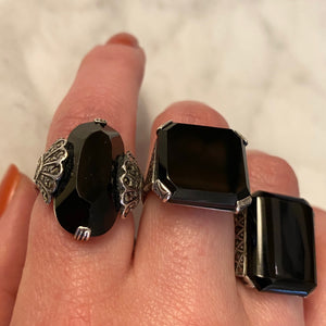 Peacock Motif Onyx Marcasite and Silver Ring