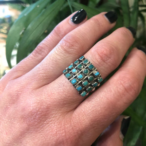 Beautiful Vintage Zuni Square Petit Point Turquoise Ring