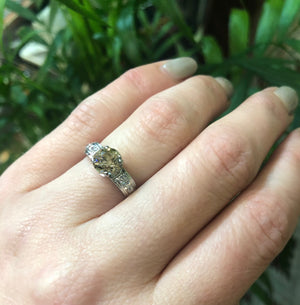 Platinum Art Deco Engagement Ring with Light Brown Diamond