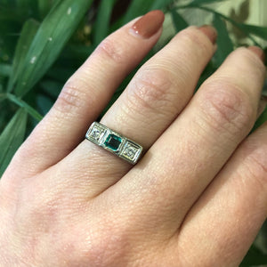 Vintage Belias White Gold Emerald and Diamond Ring