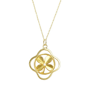 Vintage French 18k Yellow Gold 4 Leaf Clover