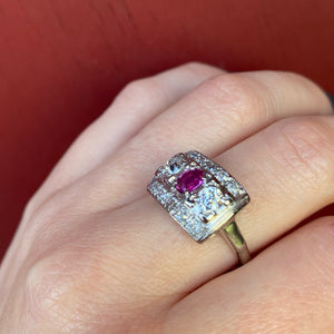 Art Deco Ruby and Diamond Panel Ring
