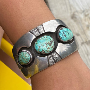 Vintage Cuff Bracelet Shadow Set with Turquoise