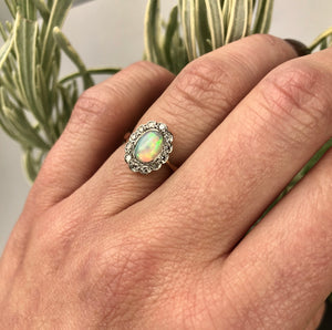 Vintage 1915 Opal and Diamond Ring