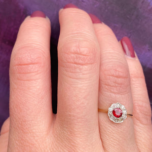 Deep Red Ruby & Diamond Halo Ring