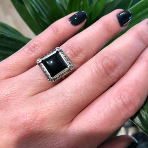 Vintage 1920's Square Onyx Sterling Ring