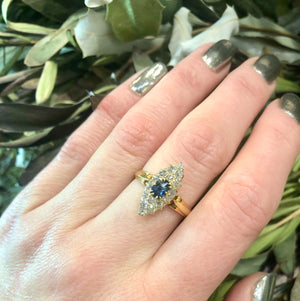 Victorian Navette Sapphire and Diamond Ring