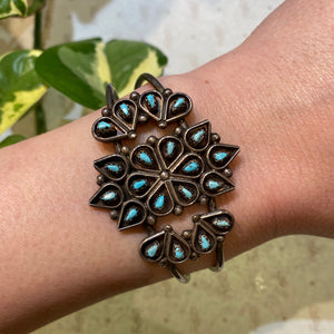 Lovely Vintage Petit Point Turquoise Cuff Bracelet