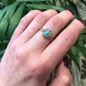 Robins Egg Blue Turquoise Surrounded by Rose Cut Diamonds