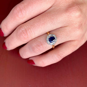 Vintage 18k and Platinum Sapphire OMC Diamond Halo Ring