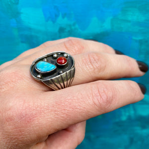 Chunky 1970s Silver Turquoise and Organic Red Gem Ring