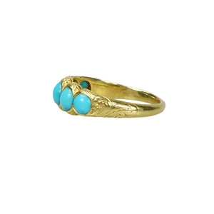 Half Hoop 18k Gold and Turquoise Band