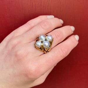 Aquatic Mid Century Cocktail Ring in Gold & Pearls
