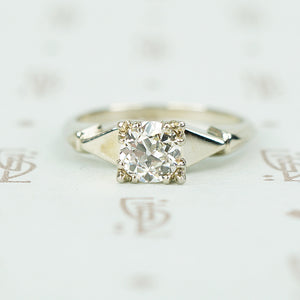 Delightful deco oec diamond white gold engagement ring