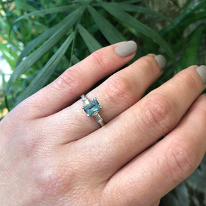 Deep Blue 1950's Aquamarine Platinum Engagement Ring