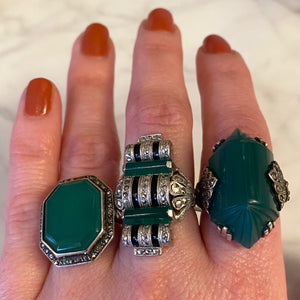 Art Deco Chrysoprase with Marcasite Halo Ring