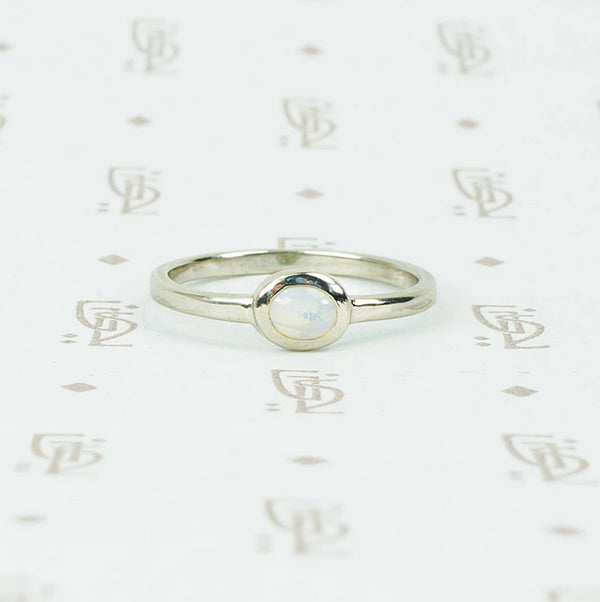 opal recycled white gold ring