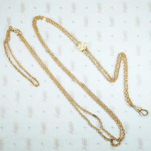 lovely long tracery gold filled chain with turquoise and pearl slide and hook