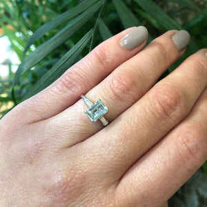 Vintage Classic Emerald Cut Aqua Platinum Engagement Ring