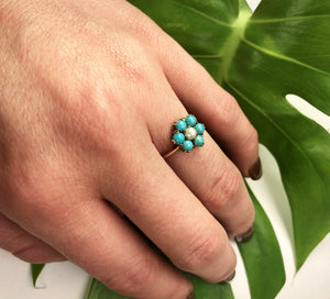 Turquoise and Pearl Pretty Posy Ring