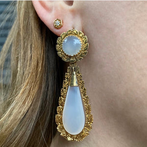 Gold Framed Agate Day and Night Earrings